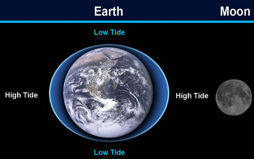 Diagram of how the moon causes tides