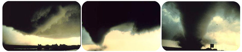 Pictures of the formation of a tornado