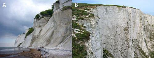 White chalk cliffs in Denmark and Dover