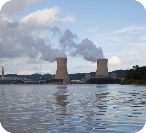 Nuclear power station produces thousands of megawatts of power