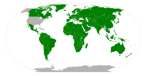 Map of the world that uses the metric system