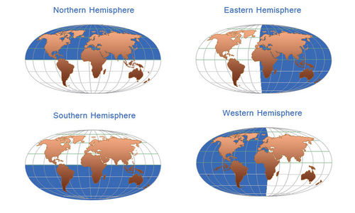 Map of the Northern, Southern, Eastern, and Western Hemispheres