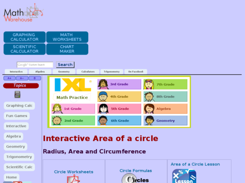 Interactive Area of a Circle
