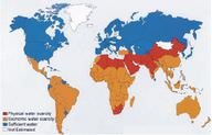 Global map of water scarcity in 2006.