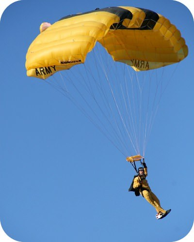 This Parachutist maximizes air resistance in order to limit the acceleration of the fall