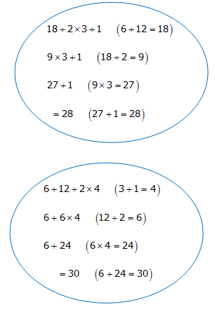 Order of Operations with Positive Real Numbers