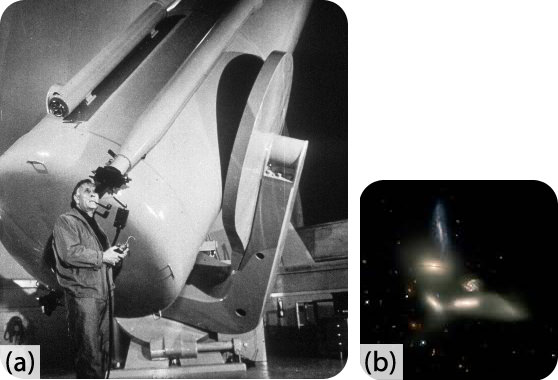 Edwin Hubble was able to use the Mount Wilson Observatory telescope to demonstrate the existence of galaxies
