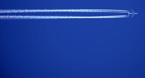 Condensation trail behind a jet