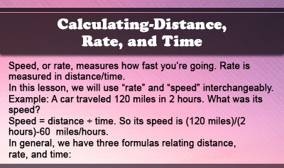 Calculating Distance, Rate, and Time - Overview