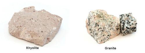 Comparison between rhyolite and granite