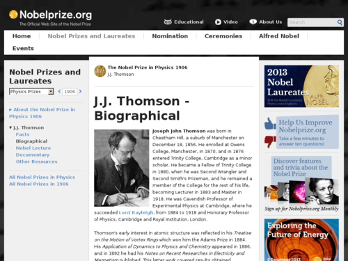 Biography of J.J. Thomson