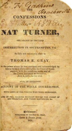 Cover Page of the Confessions of Nat Turner