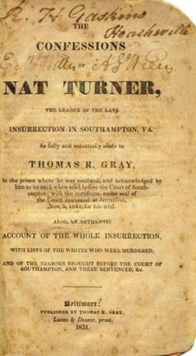 Cover Page of the <u>Confessions of Nat Turner</u>