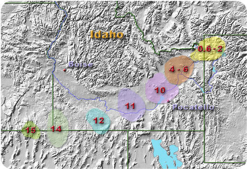 Volcanic activity attributed to the Yellowstone hotspot
