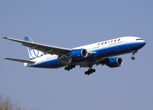 A Boeing 777 landing at Heathrow airport.