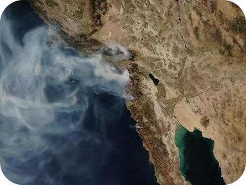 Satellite image of Santa Ana winds