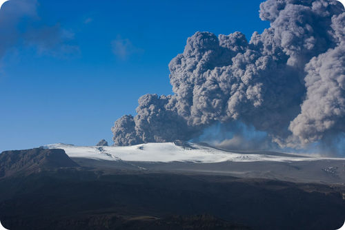 Eruption of Eyjafjallajökull volcano in Iceland in 2010