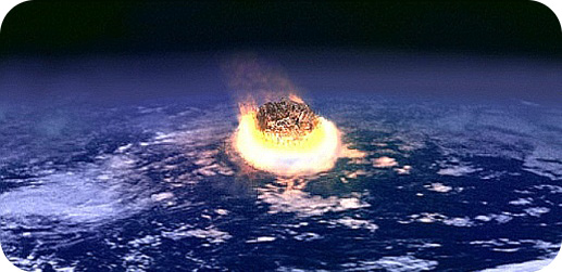 A painting of an asteroid impact with Earth