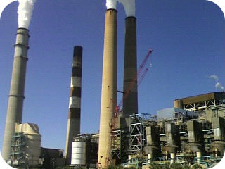 Smokestack emitting pollution into the atmosphere