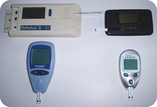 Blood glucose testing devices