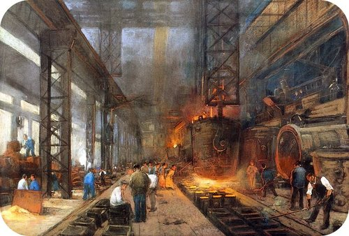 Picture of a iron factory during the Industrial Revolution