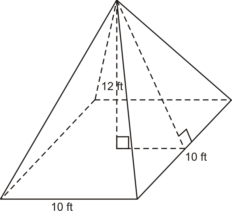 how to find the height of a rectangular based pyramid