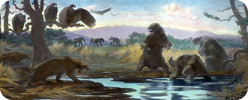 Artist's concept of animals surrounding the La Brea Tar Pits