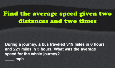 Speed = Distance / Time - Example 2