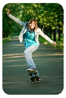 Moving skateboarder