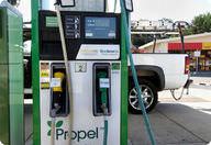 Ethanol fuel at a gas pump