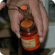 A bottle of mercuric oxide