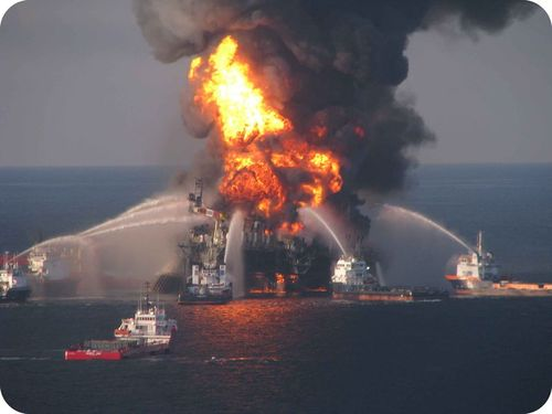 The Deepwater Horizon oil rig on fire