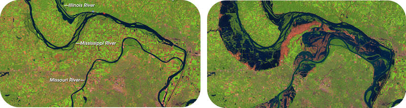 The Mississippi River floodplain at normal flow and during flood