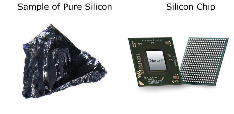 Pure silicon and silicon computer chip
