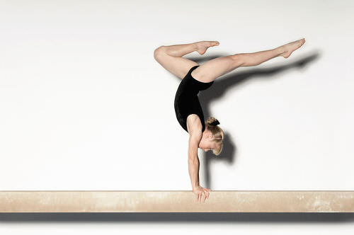 This gymnast uses the semicircular canals of the ear to keep her balance