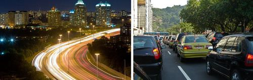 Cars on a highway have a greater speed than cars in city traffic