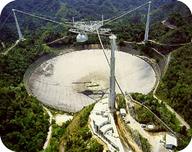 The radio telescope at the Arecibo Observatory in Puerto Rico