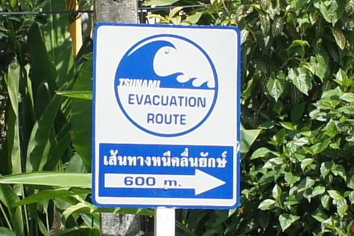 Picture of a tsunami warning sign