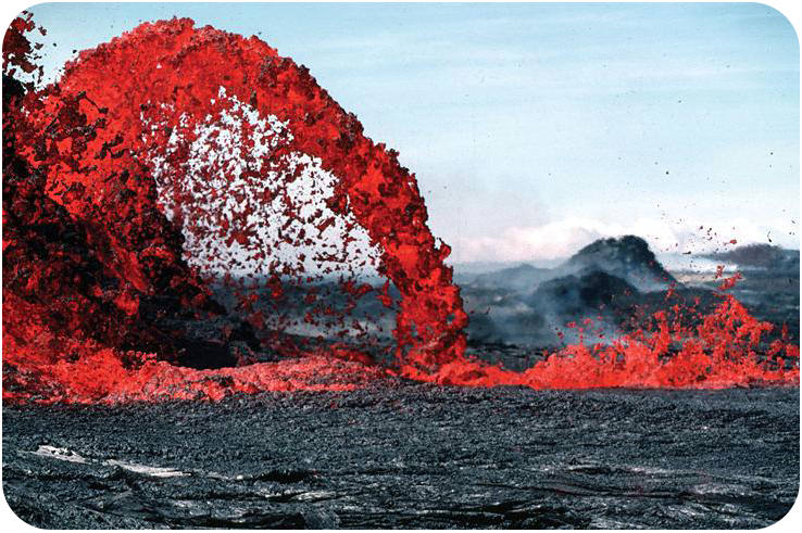 Lava cools to form extrusive igneous rock
