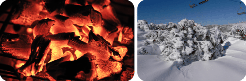 Charcoal and snow have two very different temperatures