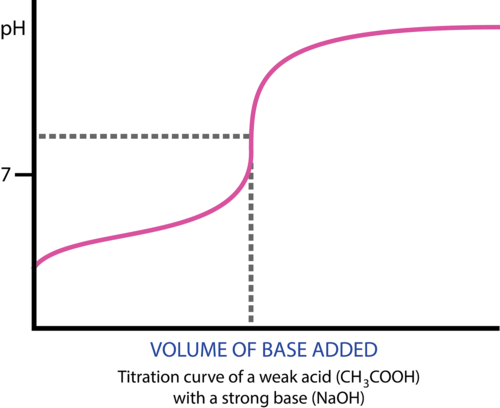 Titration curve of a weak acid and strong base
