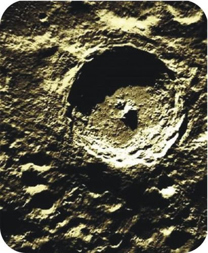 A crater on the surface of the Moon