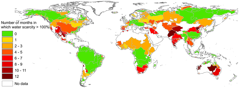 Map of the world showing areas of water scarcity