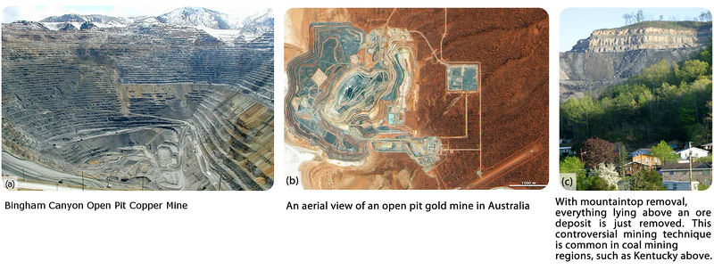 Open pit mines, and mountaintop removal