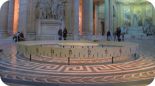 A Foucault pendulum demonstrates simple harmonic motion