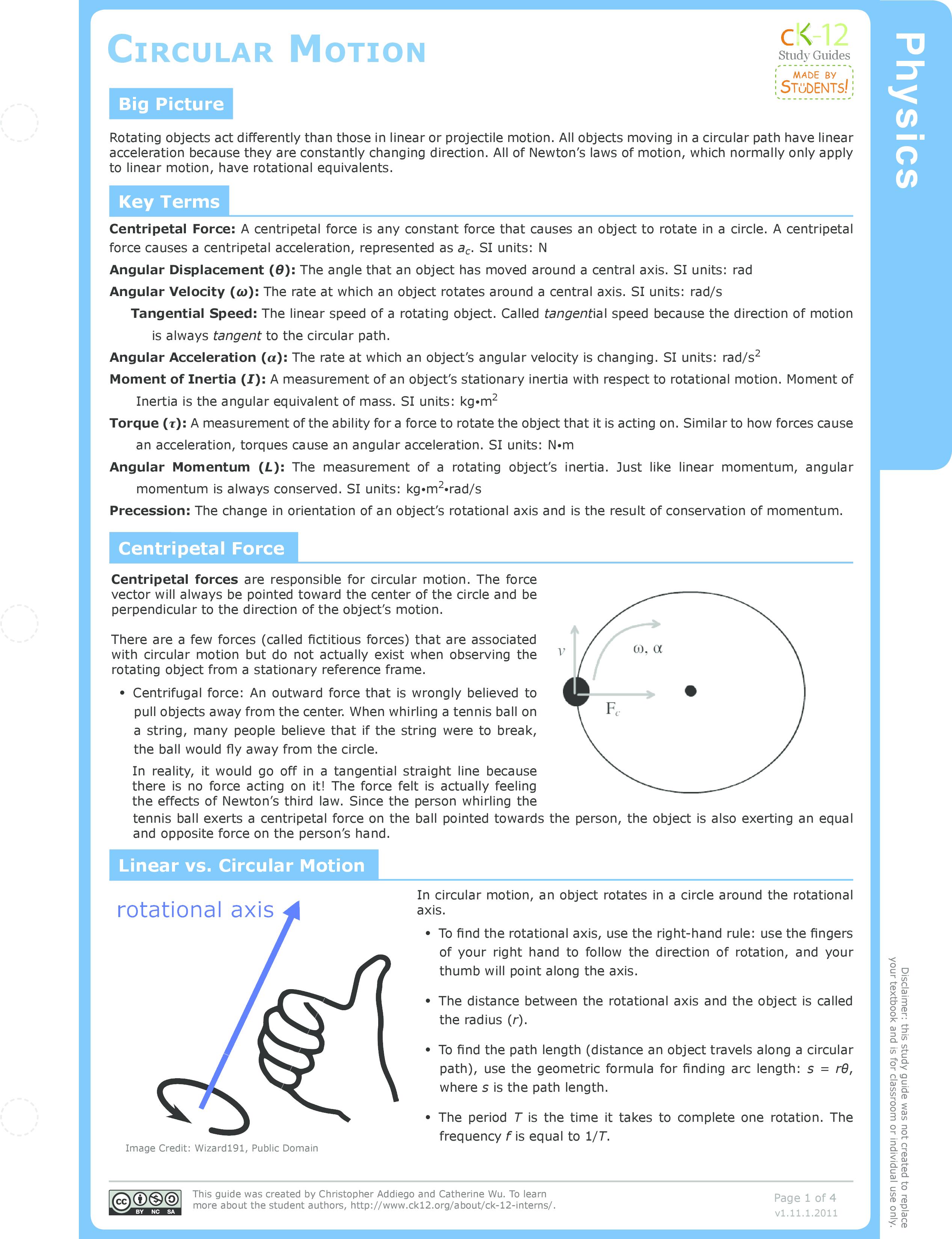 worksheet Centripetal Force Worksheet circular motion ck 12 foundation study guide