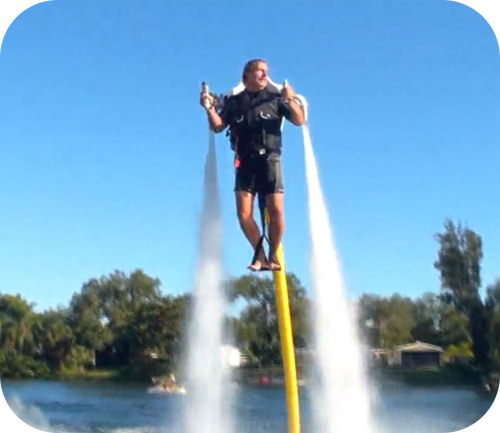 The motion of this jetpack-wearing man can be explained by considering all the forces acting upon him