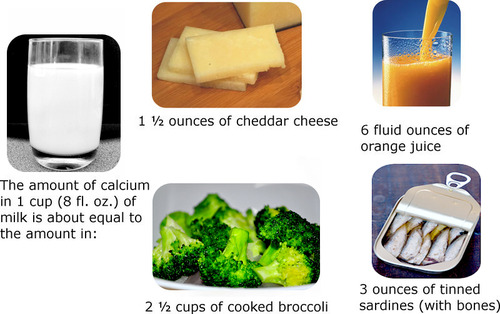 Milk, cheese, orange juice, broccoli, and sardines are all good examples of calcium sources