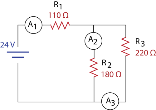 Example problem circuit with a pair of parallel resistors in series with another resistor