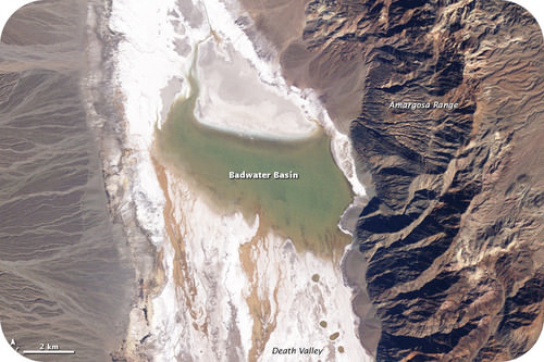 Satellite image of the Badwater Basin in Death Valley